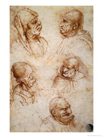 leonardo-da-vinci-five-studies-of-grotesque-faces