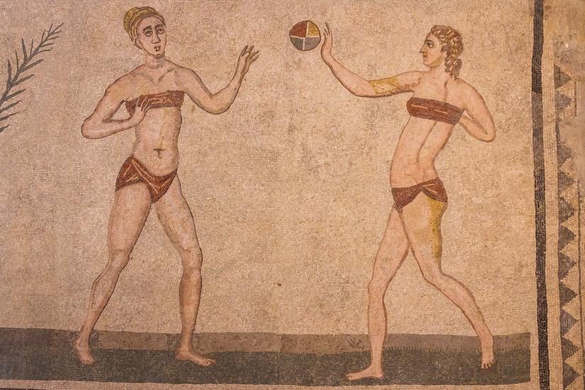Mosaic decoration of the ruins of ancient Villa Romana del Casal